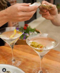 two martini glasses